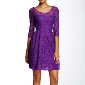 Betsey Johnson Lace Sheer Skater Dress Purple